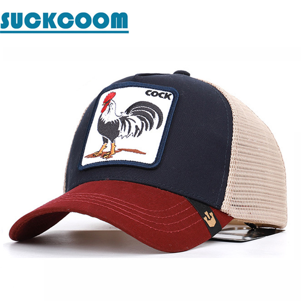 Rooster Animal Embroidery   Baseball     Caps   Men's and Women's Universal Adjustable High Quality Outdoor Sunshade Summer Mesh Hats