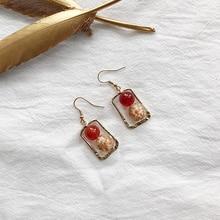 цена на Fashion Handmade Red Beads Gold Foil Ball Pendants Earrings Vintage Rectangular Irregular Geometric Earrings For Women Jewelry