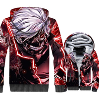 Japan Anime Tokyo Ghoul Kaneki Ken Men 3D Hoodies 2018 Autumn Winter Thick Fleece Warm Jackets Harajuku Sweatshirts For Fans