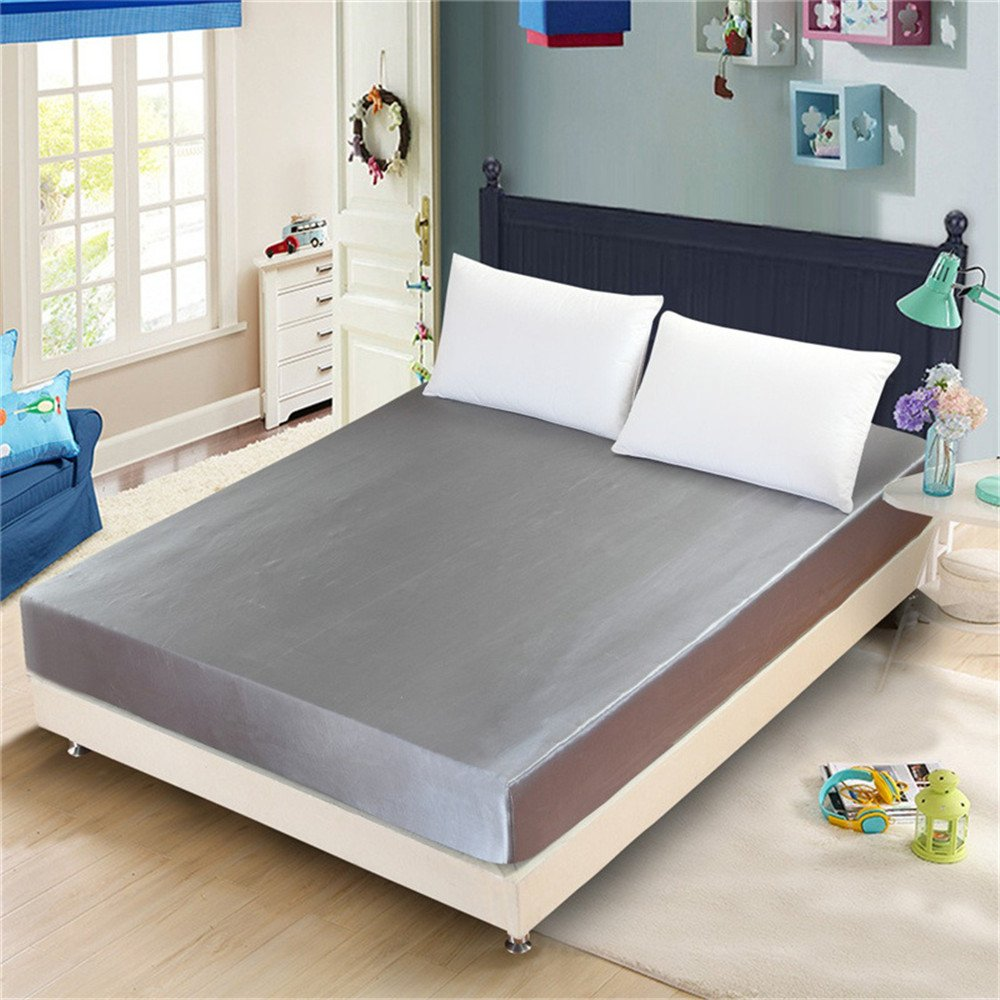 1 Piece Satin Fitted Sheet Only Classic Luxury Silky Soft Bed Sheets Solid Color