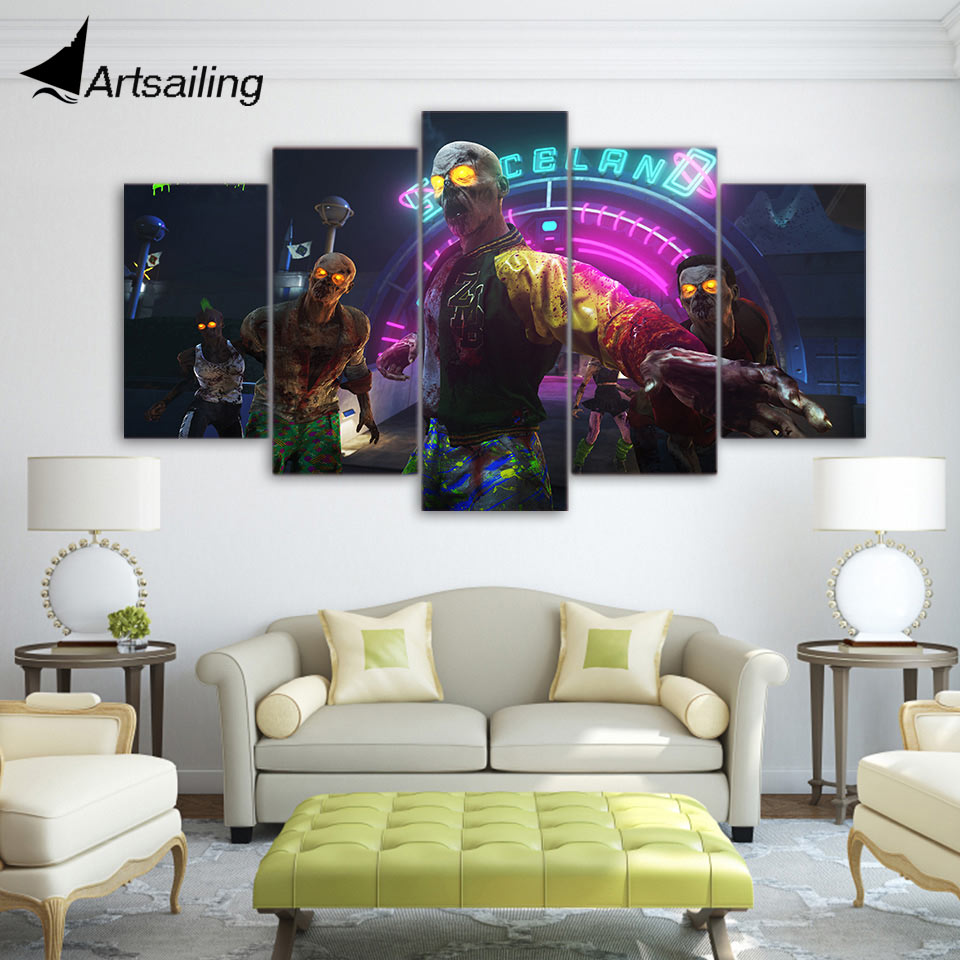 5 piece canvas art HD print call of duty zombies home decor paintings for living room wall free shipping UP-2091B