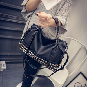 Image 2 - Rivet Womens PU Leather Handbag New 2020 Fashion Silver/Black Cowhide Women Messenger Bags One Shoulder Handbag Big Bags Z474
