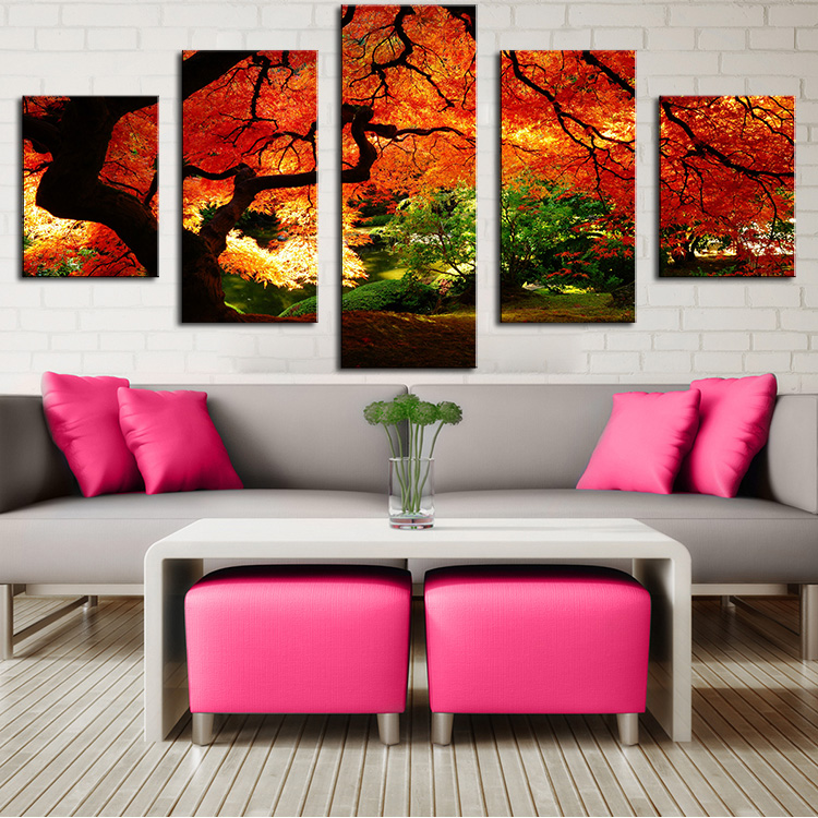 Aliexpress.com : Buy 5 Panel maple in autumn Modern Home ...
