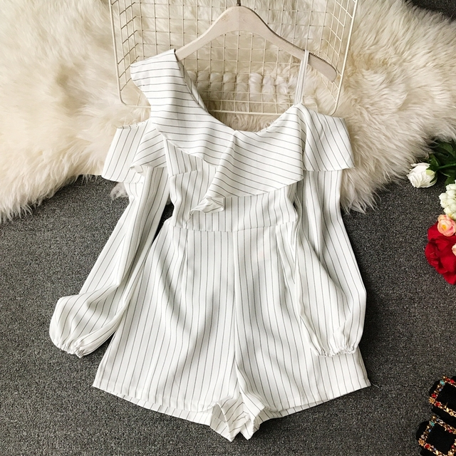 Ruffle Short Women Jumpsuit Striped White Long Sleeve Off Shoulder Black Boho Red Pink Summer Sexy Beach Rompers Women Jumpsuit 3