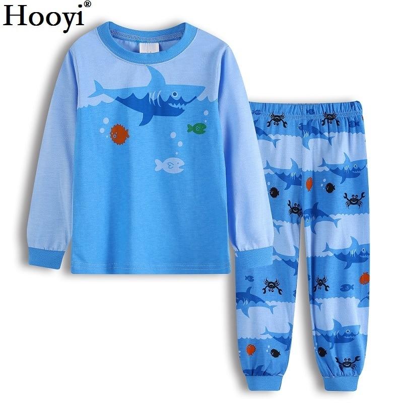 Hooyi azul tubarão meninos pijamas roupas ternos outono primavera 2 3 4 5 6 7 ano crianças pijamas de dormir terno algodão bebê menina pijamas