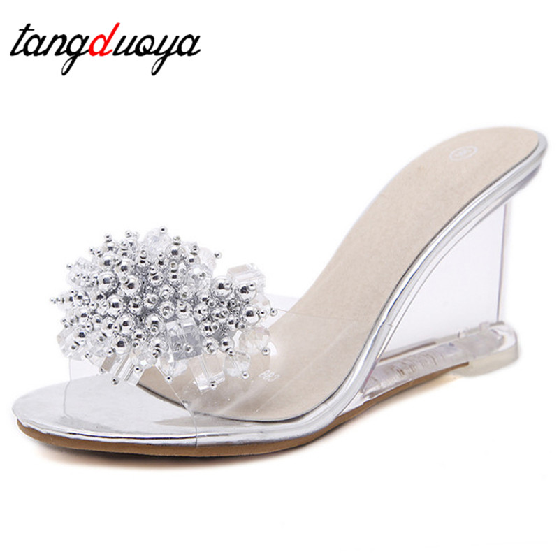 Women Sandals 2020 Transparent Heels Women's Crystal Sandals Wedge Sandals Sexy Crystal Glass Rhinestone Ladies Sandals Big Size
