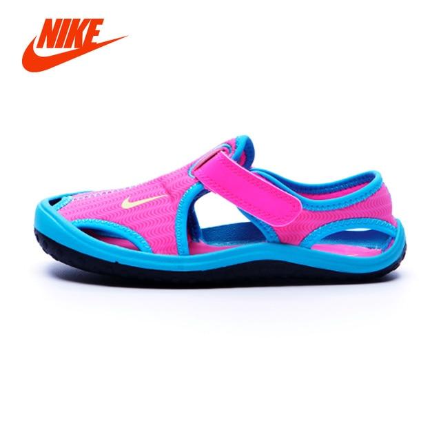 0b91607af54a7a Original NIKE Summer Children Girl Sandals Toe Cap Leather Kids Sandals  Textile Flag Casual Sport Sandals for Little Boys