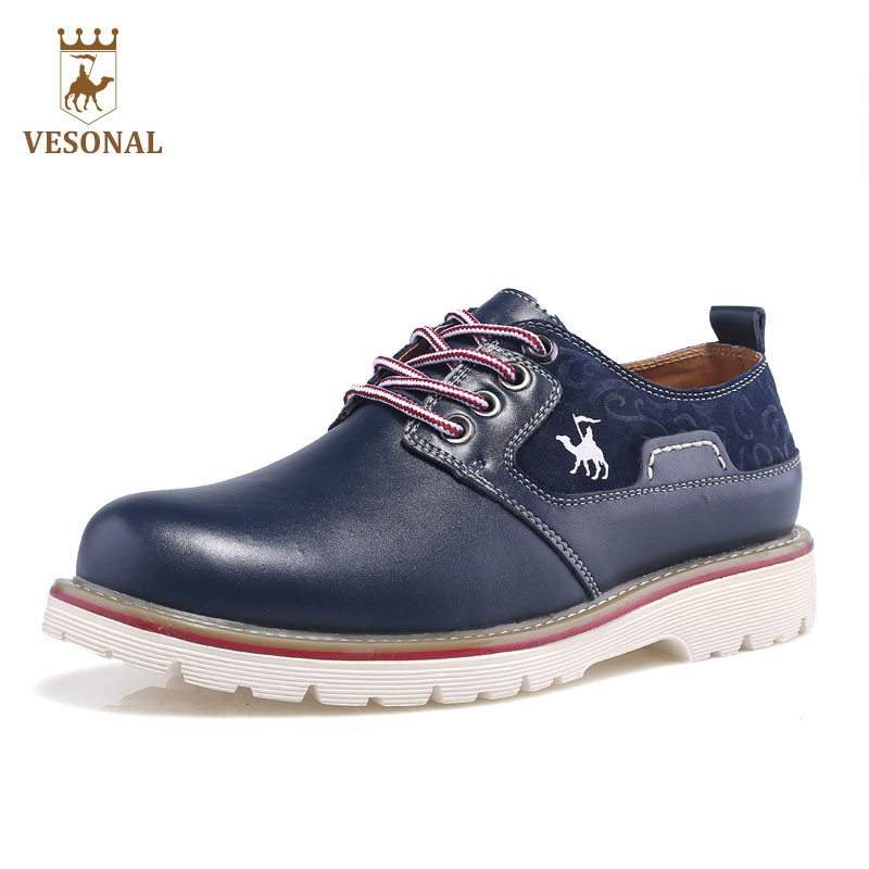 VESONAL Hot Sale 2017 New Business Brand Casual Male Shoes Men Adult Footwear Quality Genuine Leather Soft Man Walking Man Shoes купить