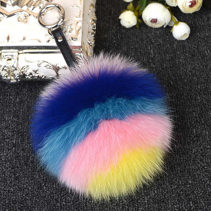 Ms. MinShu Genuína Pele De Raposa Bola De Pêlo Pompom Charme 15 cm Natural Chaveiros Charme Saco de Pele De Raposa Tamanho Grande colorido Charme Pele