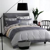 Autumn Bedding Set 4pcs Stripe Duvet Quilt Cover For Queen Size 100 Cotton Flower Bed Sheet