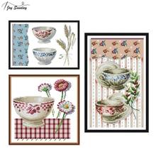 Joy Sunday Cross Stitch Kits Embroidery Needlework Sets Porcelain Patterns Printed on Canvas DIY Handmade Kit Still Life Style