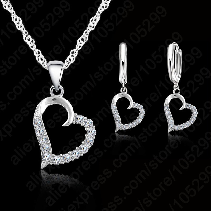 YAAMELI Minimalism Shiny Fashionable Simple Heart 925 Sterling Silver Necklace+Earring Jewelry Set For Women Statement Wholesale