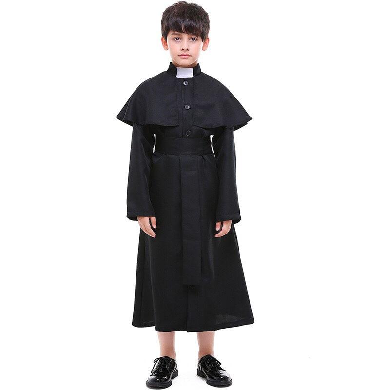 Kid Boys Halloween Church Choir Clergy Priest Costume Gown Dress Black Priest Churchman Pastor Cos Robe Uniform For Children