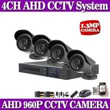 1.3MP AHD HD CCTV Security 4CH 960P HDMI1080P AHD DVR System Kit HDMI Output Remote View + 4PCS Outdoor Bullet IR 35M AHD Camera