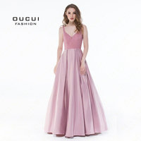 Real Photos Ball Gown Bridesmaid Vest Crystal Black Color V Neck Party Occasion Formal Long Prom Dress OL102904