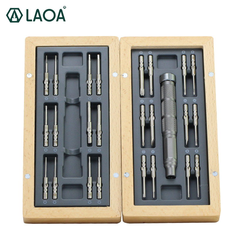 LAOA 24pcs Bit Precision Screwdriver S2 precise Screwdrivers with Aluminum Handle and Pentagonal Phillips Slotted Tri-wing bits laoa 36pcs ratchet screwdriver sets with s2 bit hex slotted phillips y shaped pentacle torx bits hand tools pdr kit outillage