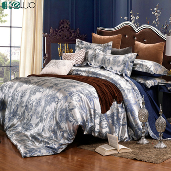 KELUO Wedding Luxury Bedding Sets Jacquard Queen/King Size Duvet Cover Set Wedding Blue Bedclothes Bed Linen Bed sheet