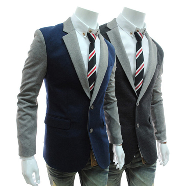 Fashion Jacket Blazer Slim Dress Wedding Groom Royal Blue
