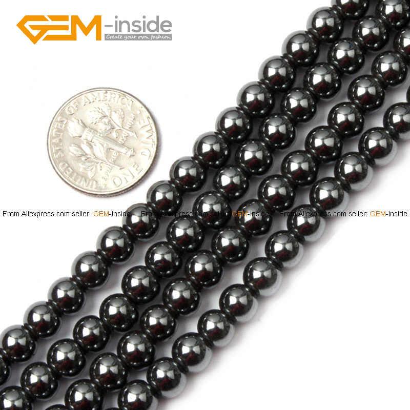 Edelstein-innen 2-16mm Natürliche Stein Perlen Runde Schwarz Hämatit Healing Perlen Für Schmuck Machen Perlen 15 ''DIY Perlen Schmuck