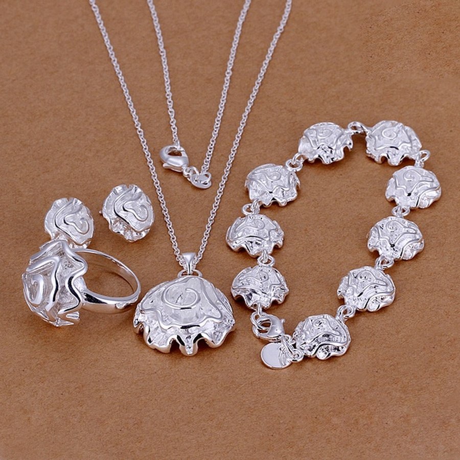 Necklace Ring Jewelry-Sets Bracelet Stud-Earrings Silver-Color Fashion Hot Rose Charm