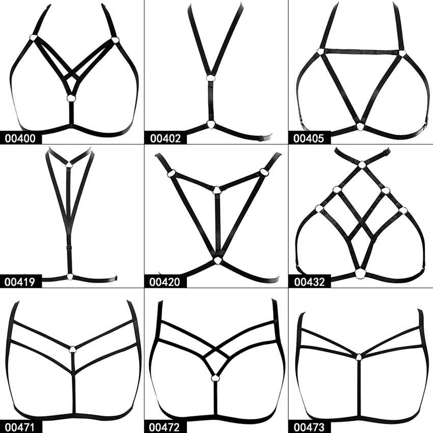 Strappy Body Harness Bra Black Pentagram Tops Caged Bra Bondage Soft Lingerie Punk Gothic Plus Size Festival Rave for Women