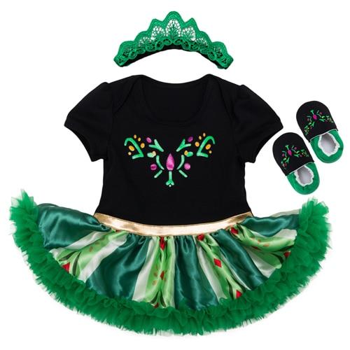 Anna Girls Romper Dress 2020 New Style Baby Tutu Dresses + Shose 3pcs Set Newborn Princess Party vestido infantil Girl Clothes