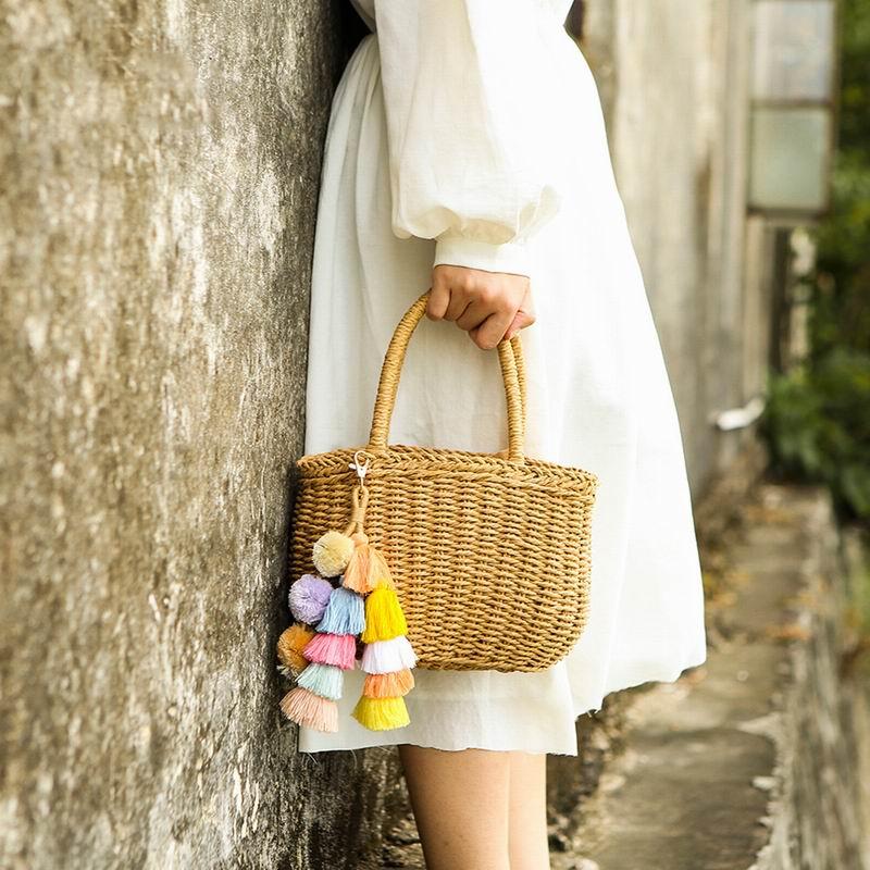 Handmade Boho PomPom Tassels Bag Accessories Ornament For Beach Straw Bag Handbag Colorful Pom Pom Handbag Pendant