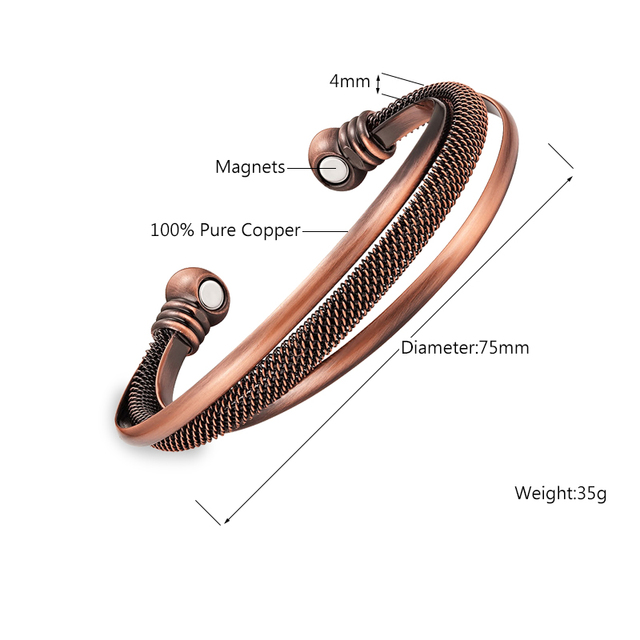 Powerful Bio Health Antique Copper Magnetic Bangle Wristband