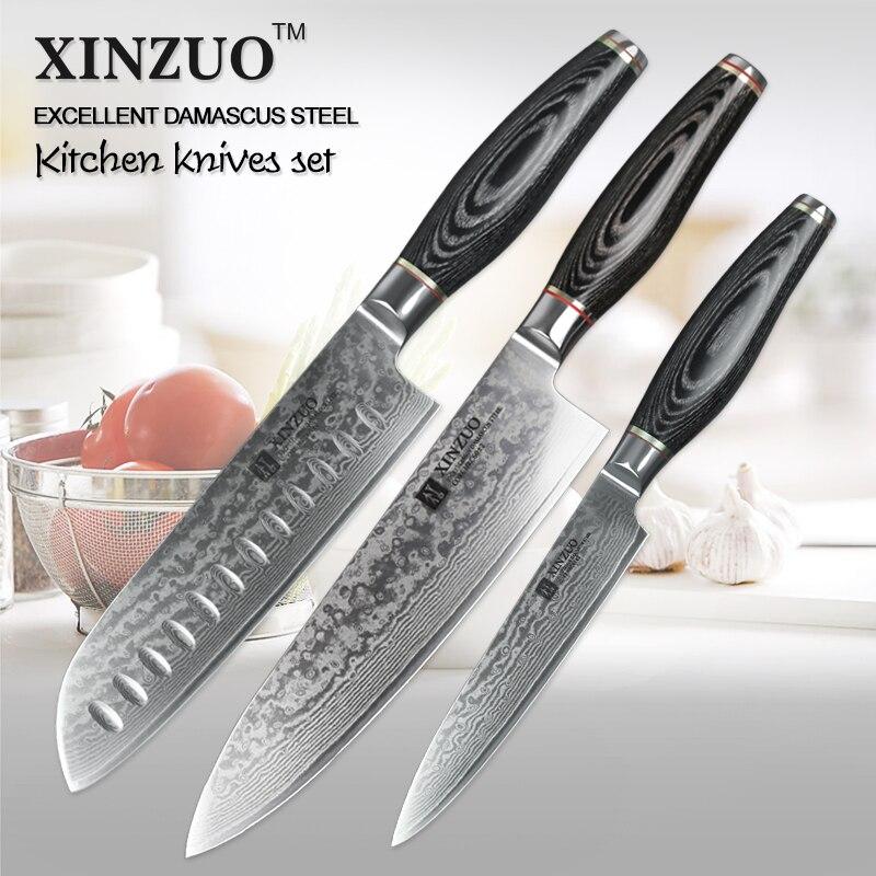 Xinzuo 3 Pcs Kitchen Knives Set 73 Layers Damascus Knife