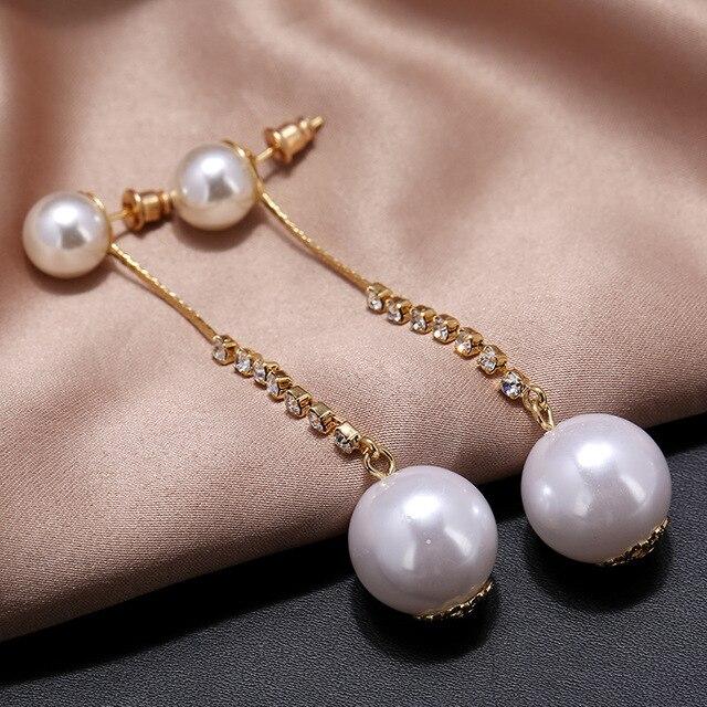 2018 New Vintage Long Drop Imitation Pearls Earring Pendant Handmade Dangle Women Jewelry Party Gift