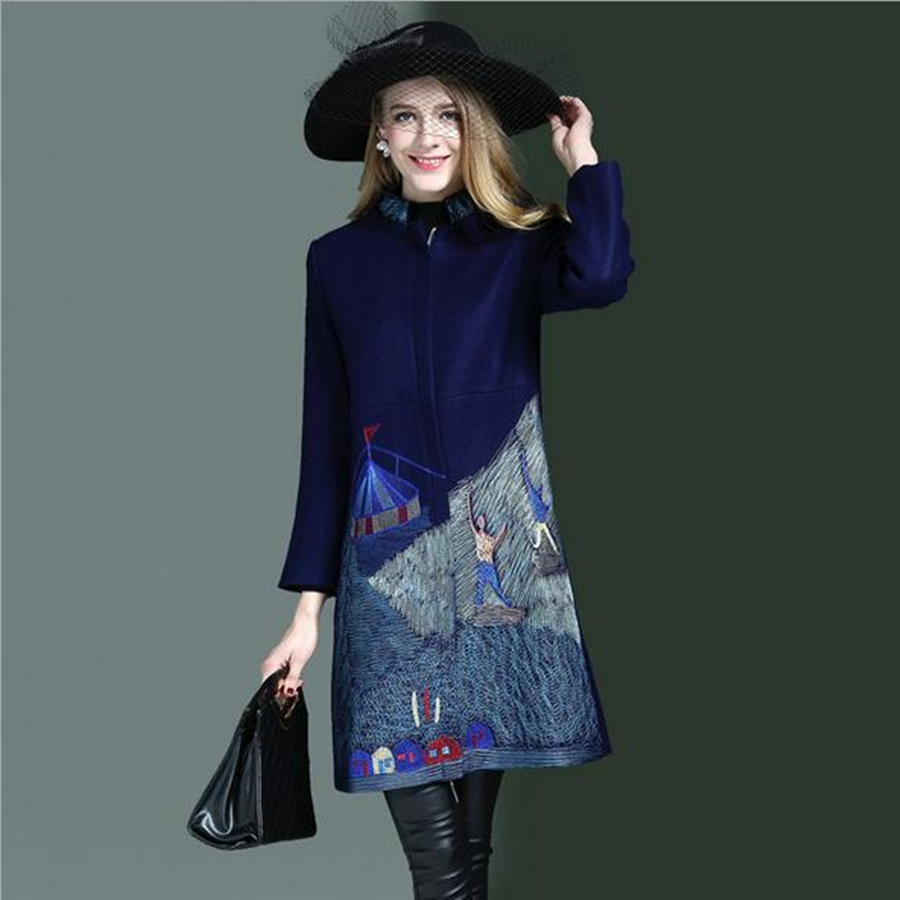 Lafhy Dofhy Winter New European And American Fashion Heavy Embroidery Zipper Style High Quality  Embroidery Women Wool Coat 086