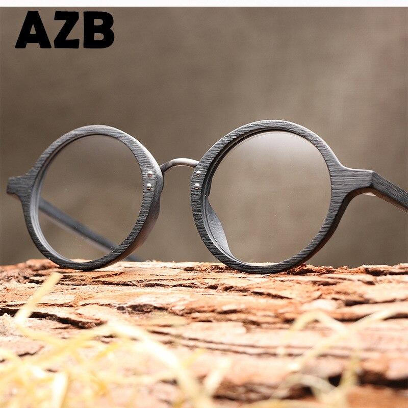 AZB Wooden Round Frame Spectacle Retro Clear Lens Glasses For Women Men Wood Optical EyeGlasses Frames Recipe Glasses Frame