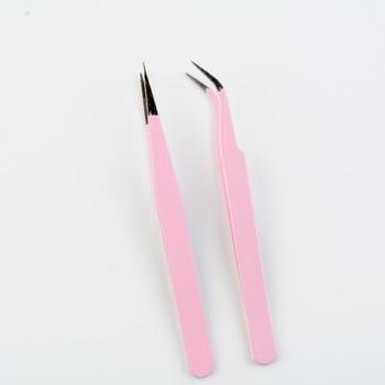 Stainless Steel Curved Straight Tweezer Nail Art Acrylic Gel Picking Tool Rhinestones Gem Decor Black Eyelash Tweezers