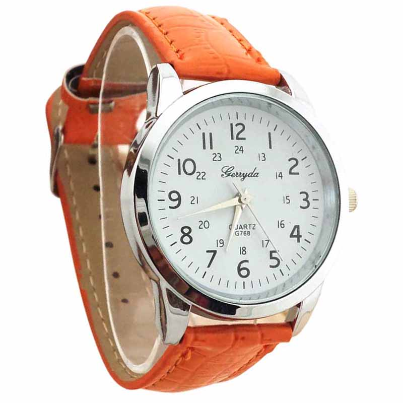 YCYS-Gerryda Male Fashion Digital Leather Belt Quartz Wrist Watch Orange