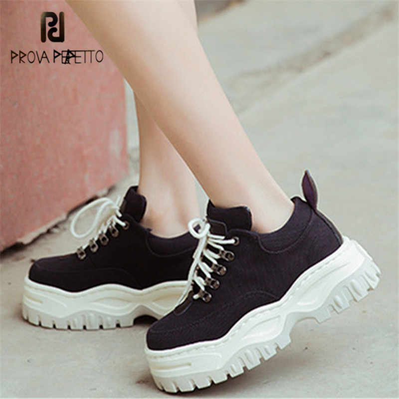 Prova Perfetto Women Sneakers Platform Creepers Female Casual Flat Canvas Shoes  Woman Tenis Feminino Espadrilles Flats d17066e51c24