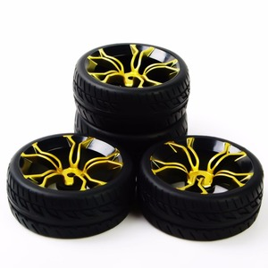 Image 5 - RC car tires rubber tyre&wheel rim model toys 4pcs tires and wheels for HSP HPI RC 1:10 flat racing on road car PP0150+MPNKG