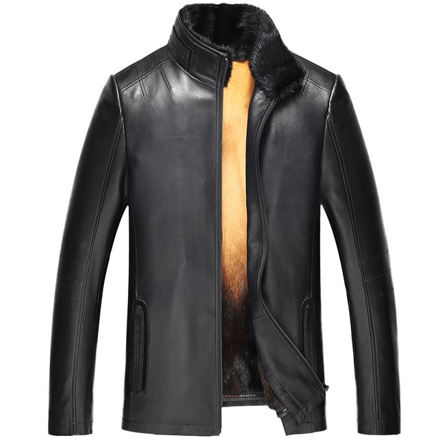 Beverry 100% Men Genuine Leather with Fur 2018 Fashion Winter Men's Warm Coat