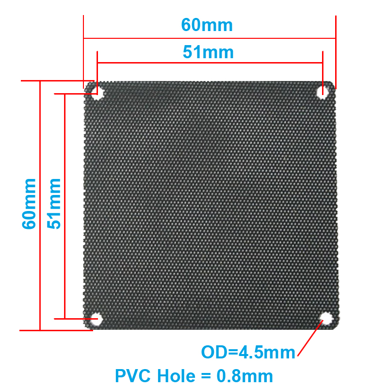 5pcs/lot 6CM Computer Mesh Black PVC PC Case Fan Cooler Dust Filter Dustproof Case Cover,60x60mm