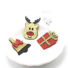 Wholesale 50Pcs Fashion Cute Felt Glitter Xmas New Year DIY Parts Solid Kawaii Christmas Deer Bell Present Box DIY Accessories