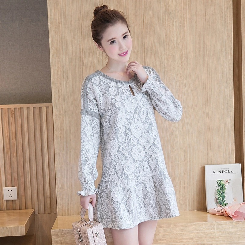 Ladies Mini Lace Dress Embroidery Clothing For Pregnant Women Cute Korean Clothes Lotus leaf edge Design Loose Maternity Dress