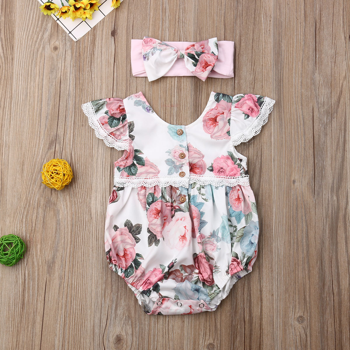 Pudcoco Newborn Baby Girl Clothes Flower Print Fly Sleeve Lace Ruffle Romper Bowknot Headband 2Pcs Outfits Cotton Clothes