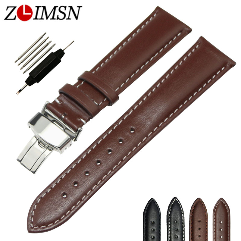 где купить ZLIMSN watch belt Soft Genuine Leather Butterfly Deployment Buckle Black Brown Watch Strap 18 20 22 24 mm Watch Bands wristband по лучшей цене