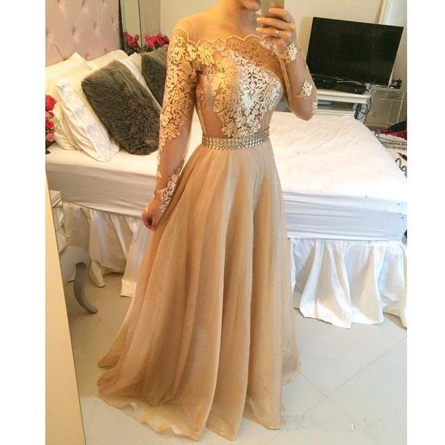 Champagne Muslim   Evening     Dresses   2019 A-line Long Sleeves Chiffon Lace Islamic Dubai Saudi Arabic Long   Evening   Gown Prom   Dress