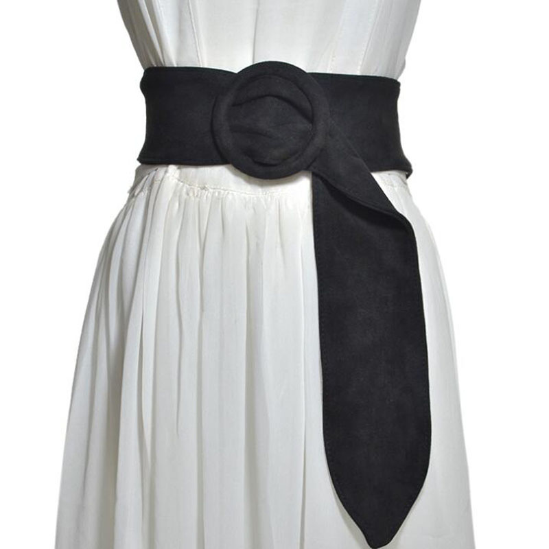 Las mujeres de gamuza de cuero pretina Lady Vintage O anillo de hebilla de cinturón de moda vestido de fiesta accesorios lujos de mujer