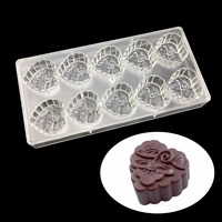 Dcrt Heart Shape with Flower Polycarbonate Cake Mold Muffin Mooncake Plastic Chocolate Mold Cupcake Baking Tool