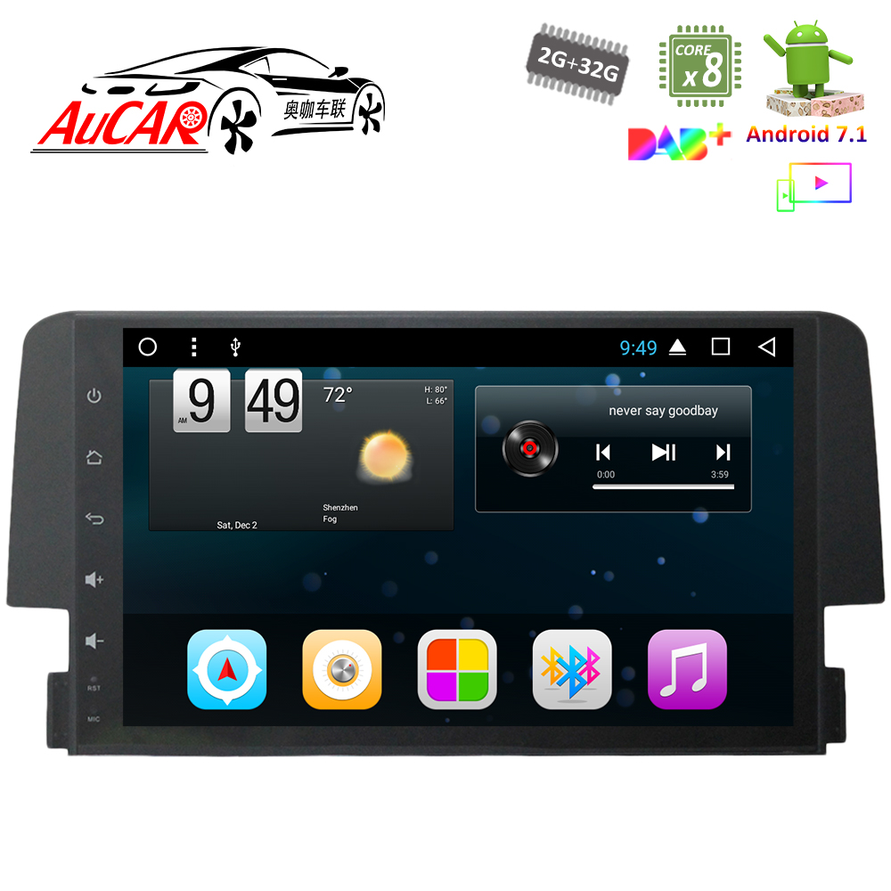 Android 7 1 9 Car Dvd Player Gps Navigation System For Honda Civic 2016 2017 Hd 1024 600 Bluetooth Radio Wifi 4g Stereo