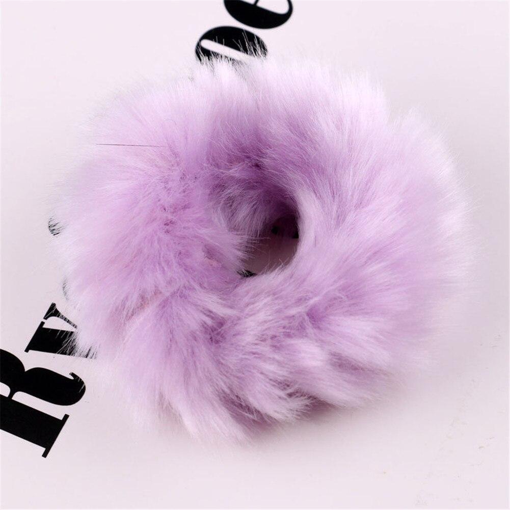 Милые эластичные резинки для волос для девочек, искусственный мех, резиновое эластичное кольцо, веревка, пушистый галстук, аксессуары для волос, меховые резинки, повязка на голову - Цвет: 7