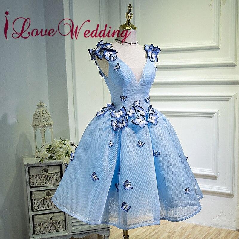 ILoveWedding 2019 Sexy V Neck Blue Butterflies Applique A Line Short Cocktail Party Dresses Real Sample