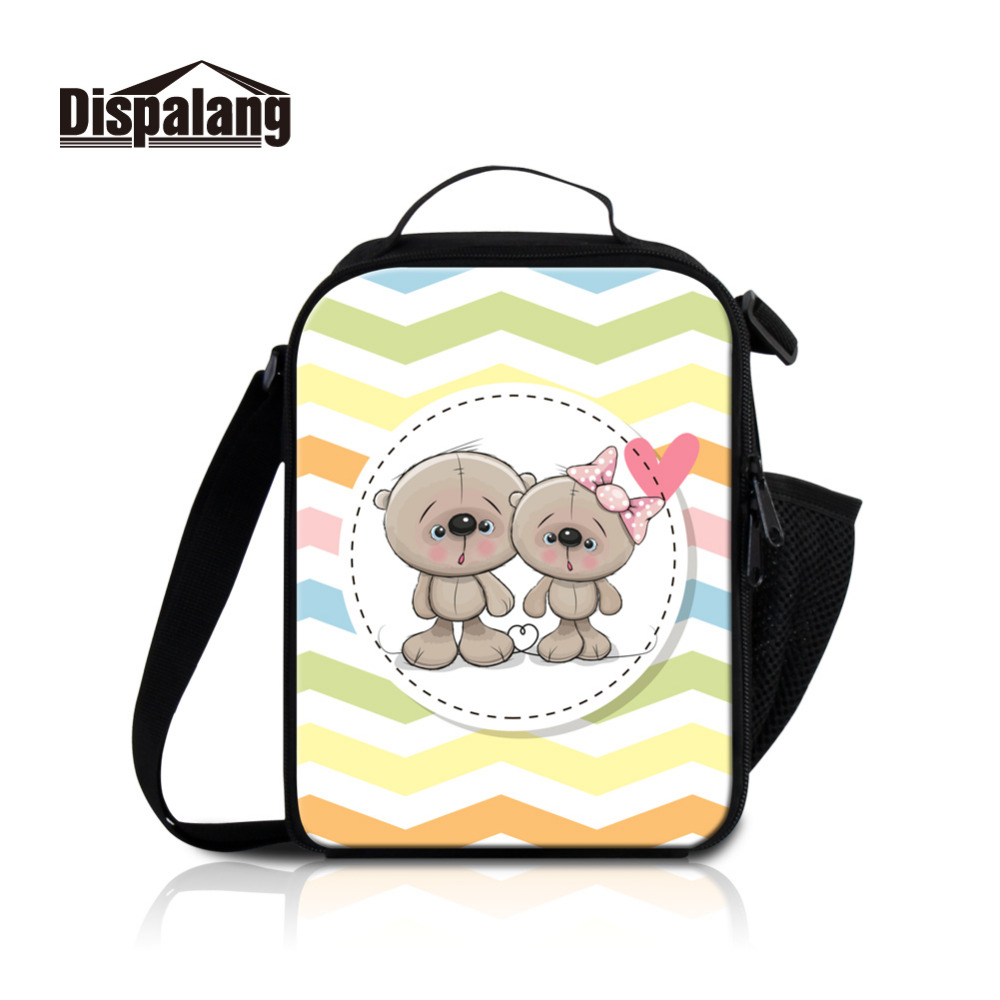 Dispalang Lover Cooler Lunch Bag Kids Lunch Box For Baby Boys Girls Cartoon Bear Print School Thermal Insulated Pinic Food Box