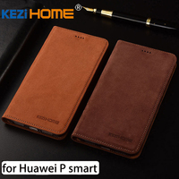 For Huawei P Smart Case Flip Matte Genuine Leather Soft TPU Back Cover For Huawei P
